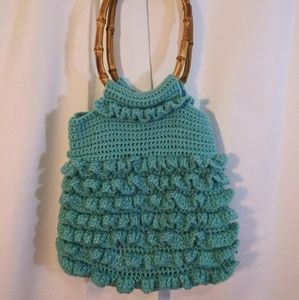 Bags - Teal blue macrame purse with wooden handles